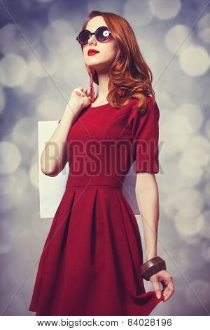Beautiful Redhead Women With Shopping Bag