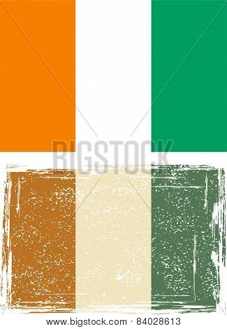 Cote d'Ivoire grunge flag. Vector illustration