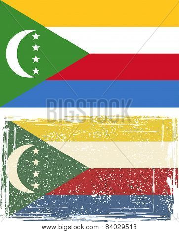 Comoros grunge flag. Vector illustration