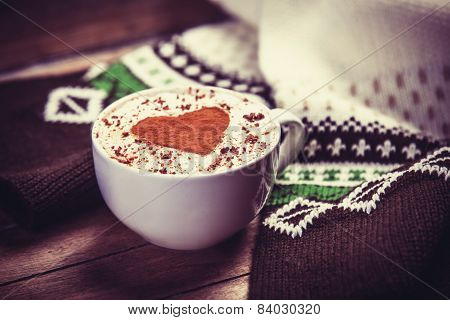 Cup With Coffee And Scarf.