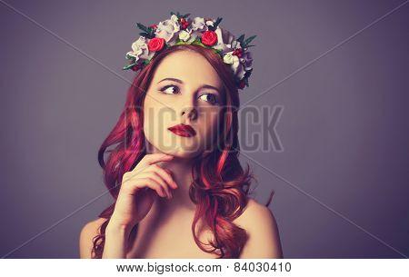 Beautiful Redhead Women With Wreath.