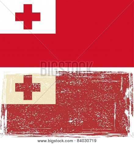 Tonga grunge flag. Vector illustration