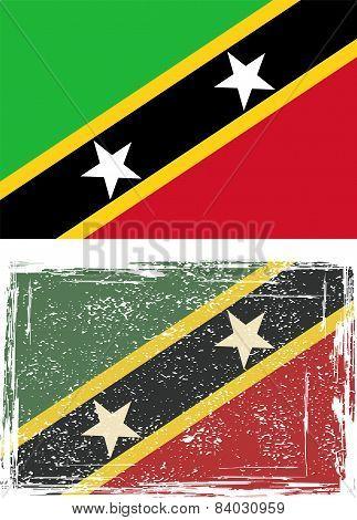 Saint Kitts and Nevis grunge flag. Vector illustration