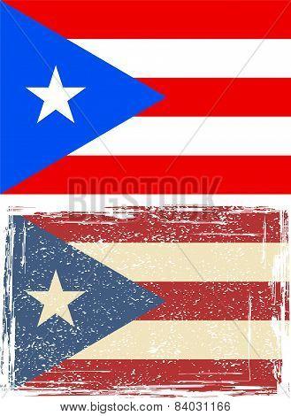 Puerto Rico grunge flag. Vector illustration