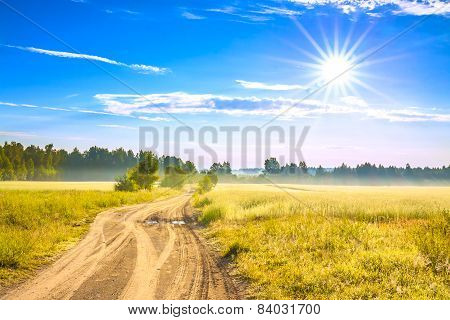 Summer Rural Landscape With A Field, Sunrise And  Road