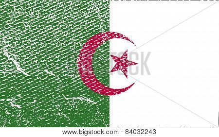 Flag Of Algeria With Old Texture. Vector