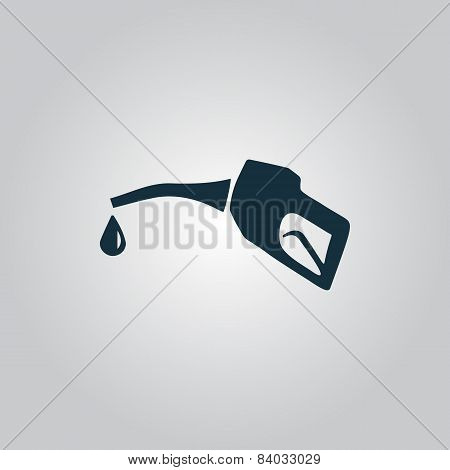Gasoline pump nozzle sign.