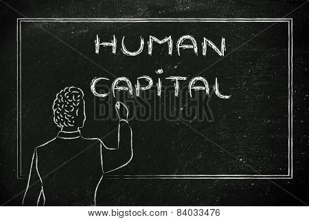 Teacher Or Ceo Explaining About Human Capital