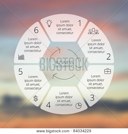 Circle line infographic. Template for cycle diagram, graph, presentation and round chart. Business
