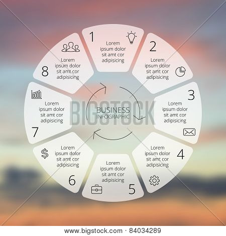 Circle line infographic. Template for cycle diagram, graph, presentation and round chart.