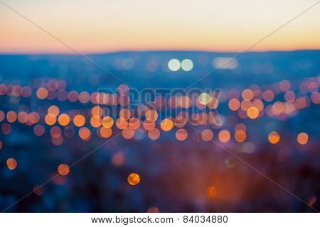 Big City Lights In The Twilight Evening With Blurring Background, Closeup