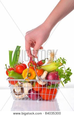 Fresh Vegetables In Metal Basket