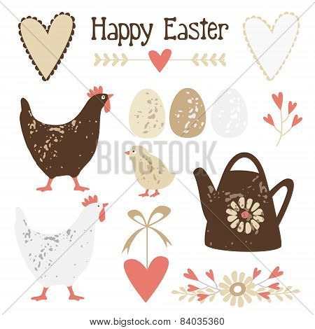 Easter Elements Set With Eggs, Hens And Flowers