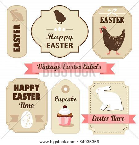 Cute Retro Easter Set Of Labels With Eggs, Chicken, Bunny, Ribbons