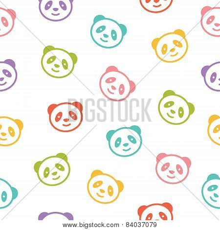 Seamless colorful pattern with panda bear. Vector illustration.