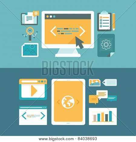 Vector Web Development And Digital Content Marketing