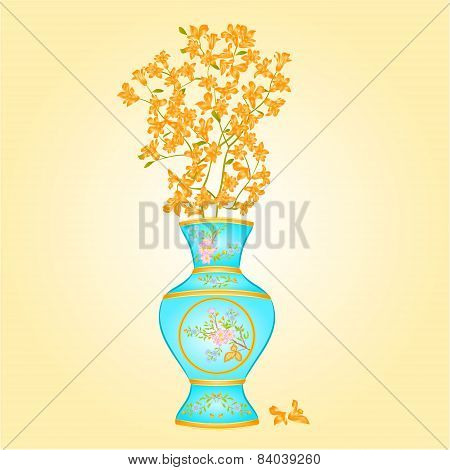 Azure Vase With Forsythia Vector