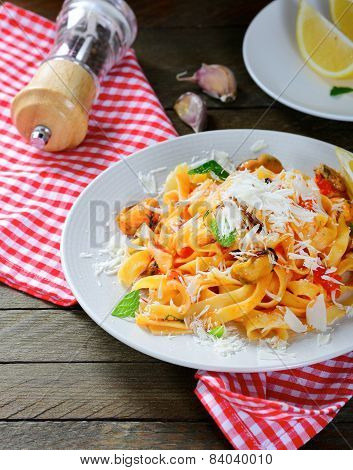 Italian Pasta With Seafood And Cheese