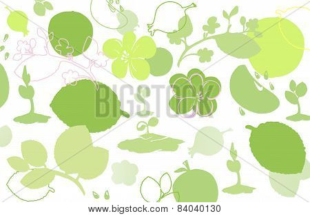 Background Symbolizing Summer: Sprouts, Flowers, Fruit And Leaves