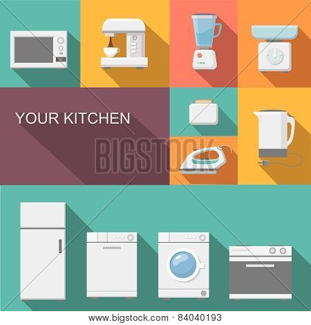 Set of kitchen appliances flat   icons poster