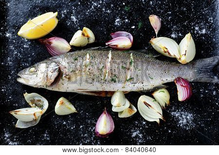 Roasted Sea Bass On A Dark Background