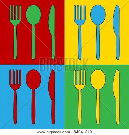 Pop Art Fork, Spoon And Knife Symbol Icons.