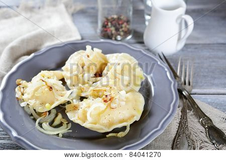 Dumplings With Potatoes And Onions, Pierogi
