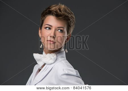 portrait of an elegant young doctor in a white coat