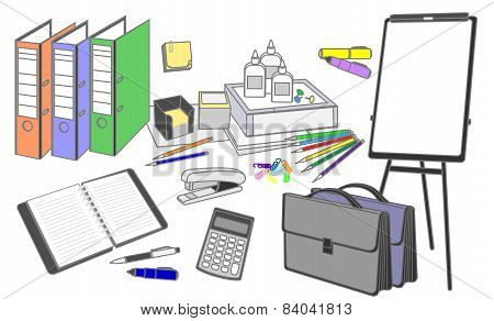 Stationery Set Symbolizing The Traditional Office Work Performed In The Thumbnail Style