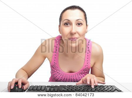 Woman On Computer Surfing Internet