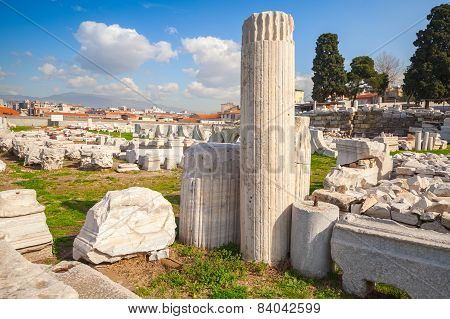 Ruins Of Ancient Smyrna In A Summer Day. Izmir, Turkey