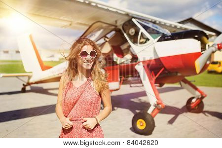 Woman and aircraft