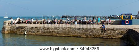 Sunshine and warm summer weather brought visitors to Swanage Dorset coast