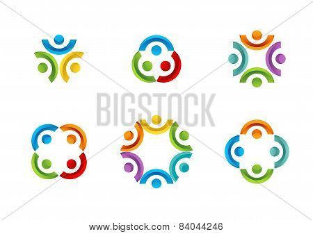 Teamwork connection Logo, illustration education team Social Network set vector design