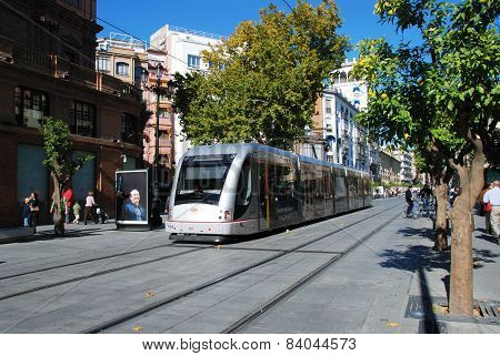 Tram in the city centre, Seville.