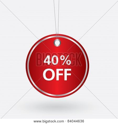 red oval discount 40 percent