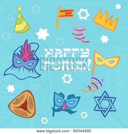 Funny Happy Purim Icon Set. Vector Illustration