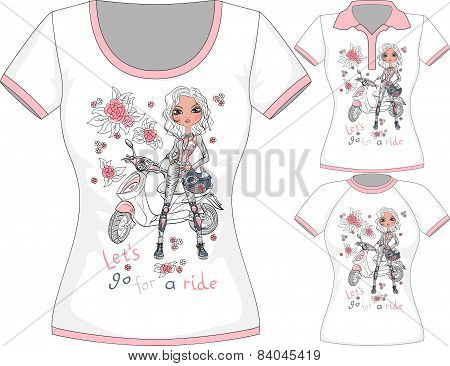 Vector T-shirt with fashion girl and scooter