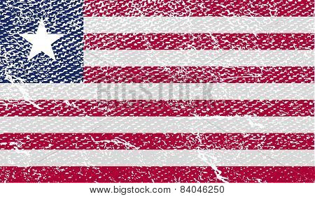 Flag Of Liberia With Old Texture. Vector