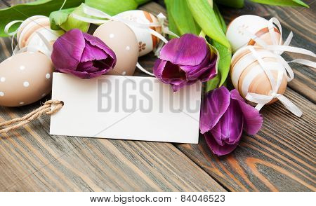 Easter Background With Easter Eggs And Tulips
