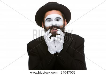 Portrait of the surprised and joyful mime
