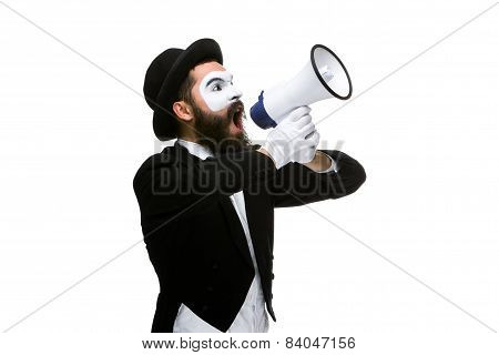 Man with a face mime screaming into megaphone