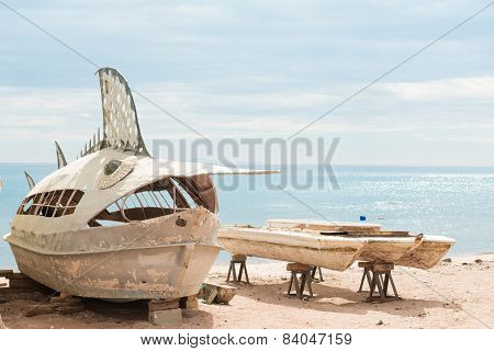 Deserted fishing boats