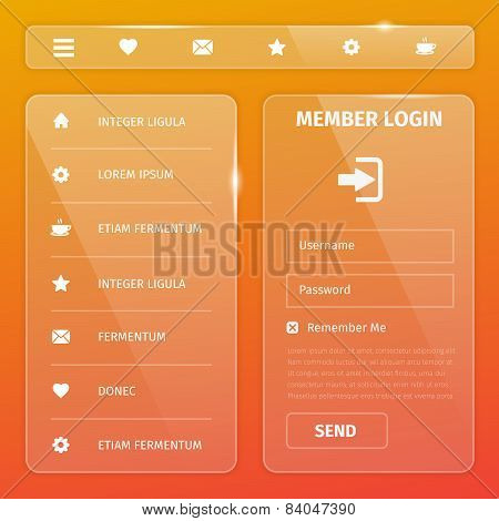 Shiny Glossy Vector Mobile Web User Interface
