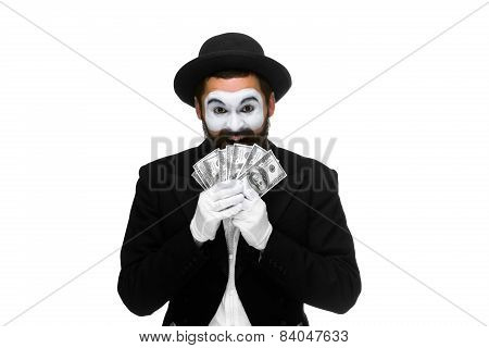 mime as a businessman holding dollar bills