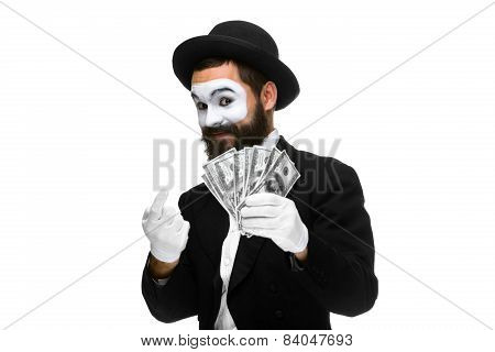 mime as businessman luring money