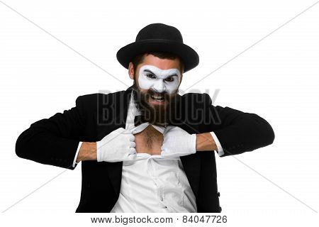 mime as a businessman tearing his shirt off