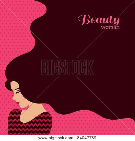 Vintage Fashion Woman with Long Hair. Vector Illustration