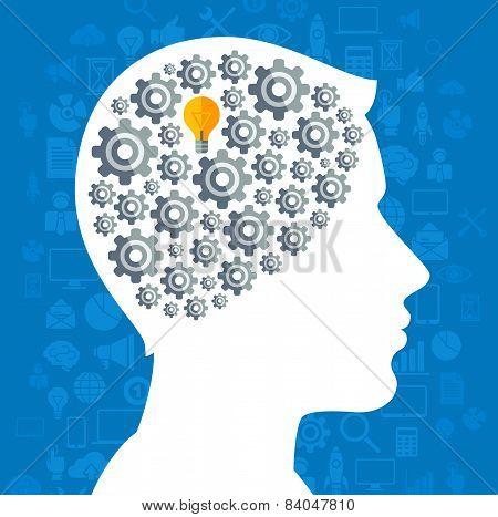 Creative concept of Business Idea Generation.