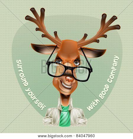 Deer hipster. Vector illustration